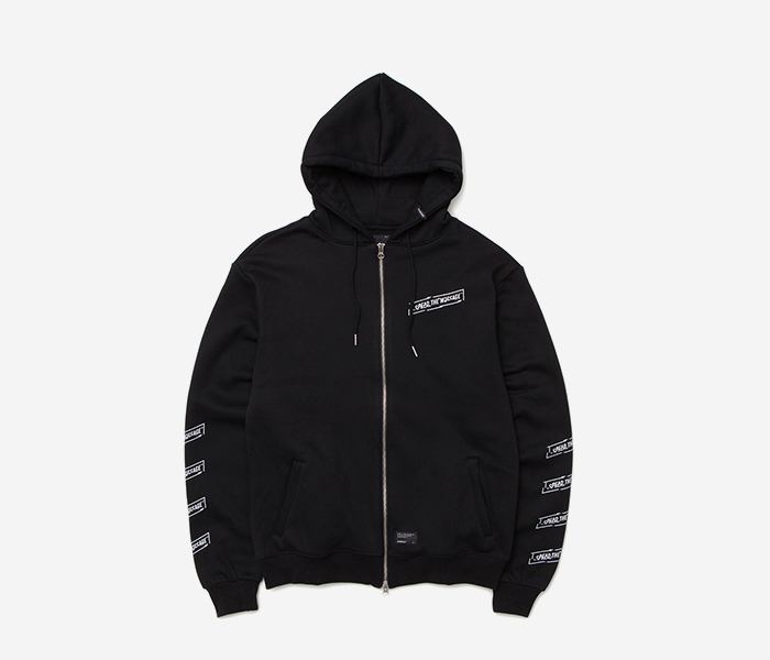 CRACK ZIP-UP HOODIE - BLACK brownbreath