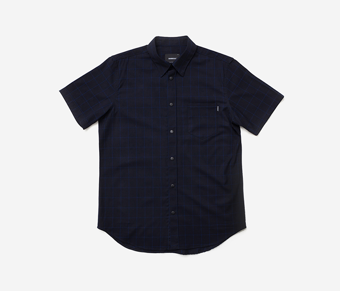 B CHECK HALF SHIRT - BLACK brownbreath