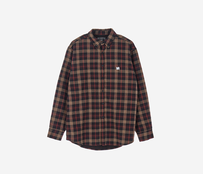 TAG HEAVY CHECK SHIRTS - BLACK brownbreath