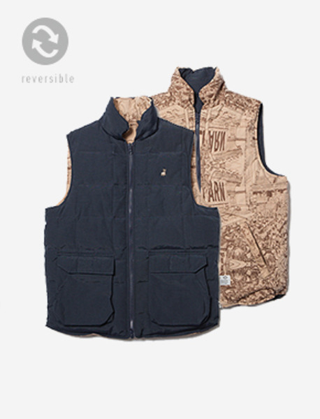 LEARN REV. DOWN VEST - NAVY brownbreath
