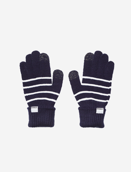 STRIPE GLOVES - NAVY brownbreath