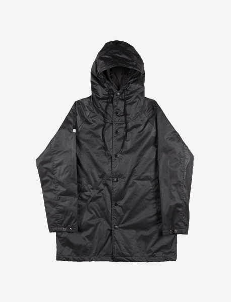 SLOGAN HOOD COAT - BLACK brownbreath