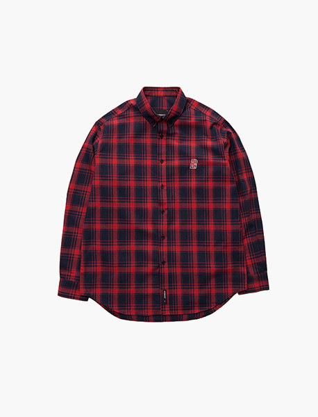 B MOVE CHECK SHIRTS - RED brownbreath