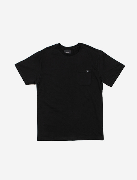 LABEL POCKET TEE - BLACK brownbreath