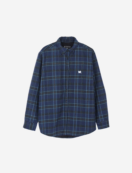 TAG HEAVY CHECK SHIRTS - NAVY brownbreath