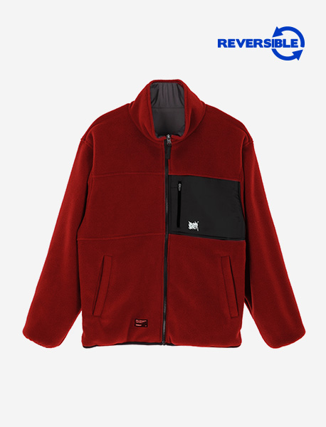 TAG REVERSIBLE FLEECE JACKET - BURGUNDY brownbreath