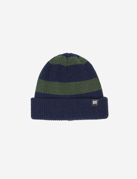TAG STRIPE BEANIE - NAVY brownbreath