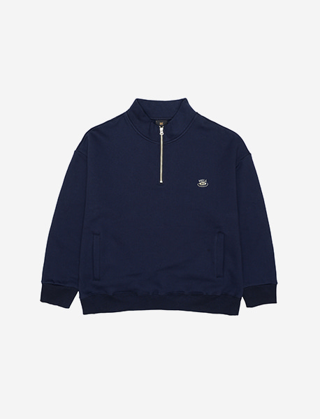 HELL UP HALF ZIP CREWNECK - NAVY brownbreath