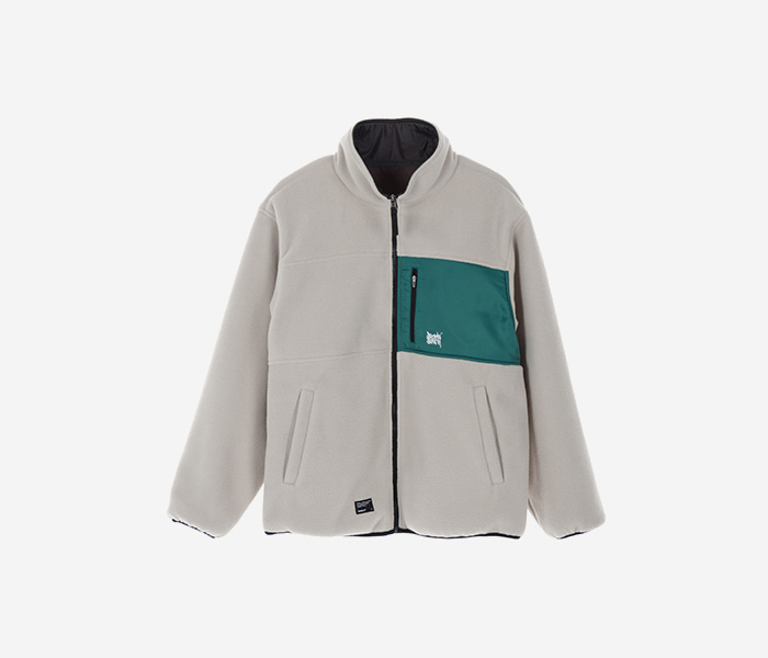 TAG REVERSIBLE FLEECE JACKET - BEIGE brownbreath