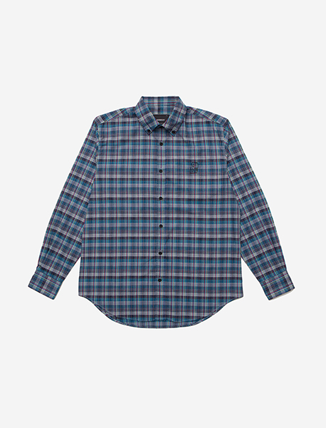 B MOVE CHECK SHIRT - BLUE brownbreath