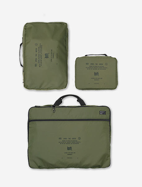 STIN TRAVEL CASE L + M + POUCH - KHAKI brownbreath