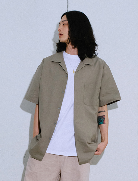 NGRD OPEN COLLOR SHIRTS - KHAKI brownbreath
